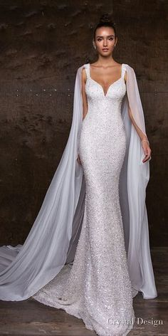 crystal design 2018 sleeveless with strap full embellishment glitter glamorous fit and flare wedding dress sweep train (syuzet) mv -- Crystal Design 2018 Wedding Dresses