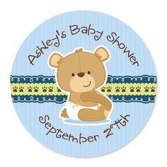 Baby Boy Teddy Bear - 24 Round Personalized Baby Shower Sticker Labels