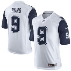 40fc32159 Cowboys Mens Tony Romo Nike Color Rush Limited Jersey - White