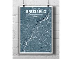 Brussels Belgum  City Map Print by PointTwoMaps on Etsy