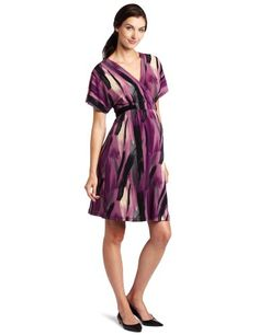 Three Seasons Maternity Women's Print Kimono Surplice Dress