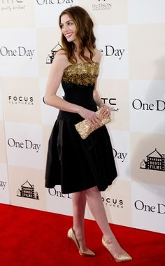 The embellishments are gorgeous... Anne Hathaway {Alexander McQueen, dress} {Christian Louboutin, shoes & clutch} {Tiffany, jewelry}