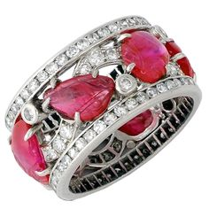 A Carved Ruby and Diamond Band Ring 1930