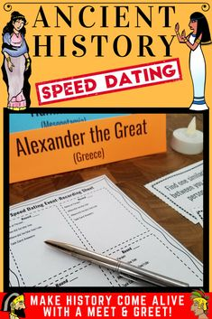 Make the world & ancient history come alive with this engaging project. Students research a historical figure and civilization, and then show their knowledge by becoming this figure in a speed dating or networking event. This activity is great for teaching politics, government, important historical themes, and keeping your secondary students (both middle and high school) interested and motivated.