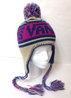 250b81932 Ladies VANS PERUVIAN POM BEANIE Winter Knit Ski Hat Beige Tan Magenta  Womens EUC  Vans  Beanie