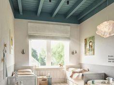 Poutre en bois + peinture bleu canard = le parti pris qui fonctionne