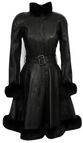 This slim fitting black leather with (faux?) fur trim by Michael Hoban is just beautiful -from dresseronline.co.uk