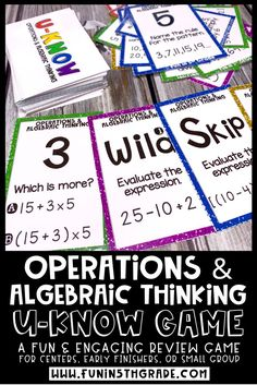 Operations and Algebraic Thinking U-Know game is the perfect way for your 5th grade students to practice solving and reading expression.  This fun and engaging hands on activity is great to use to review 5th grade math standards in centers, for early finishers or in small group.  Perfect fun math test prep idea!  Includes word problems with brackets,braces & parentheses.  #5thgrademath #mathgames
