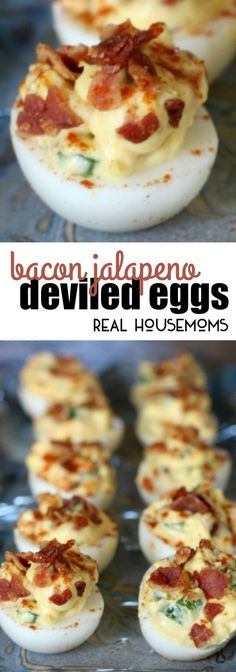 Bacon Jalapeno Deviled Eggs are delicious and add a kick to the traditional spring, summer, or Easter appetizer! via Real Housemoms