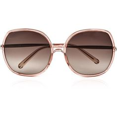 Chloe Sunglasses Nate Rectangle Oversized Sunglasses ($290) ❤ liked on Polyvore featuring accessories, eyewear, sunglasses, peach, rectangle sunglasses, uv protection glasses, rectangle glasses, brown gradient sunglasses and rectangular glasses