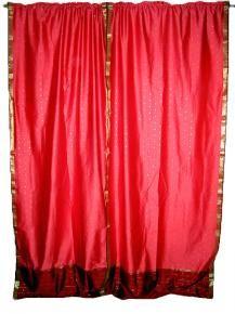 Art Silk Sari Curtains, Silk Sari Window Treatment, Sari Drapes Texas