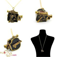 Vintage Movie Camera Necklace: This wonderfully retro camera necklace is in the form of a vintage movie camera. It's made of gold tone brass that's been hand painted in colorful enamel. The camera is around 1 inches wide on a long gold tone brass chain. Camera Necklace, Retro Camera, Movie Camera, Brass Chain, Vintage Movies, Enamel, Hand Painted, Colorful, Gold