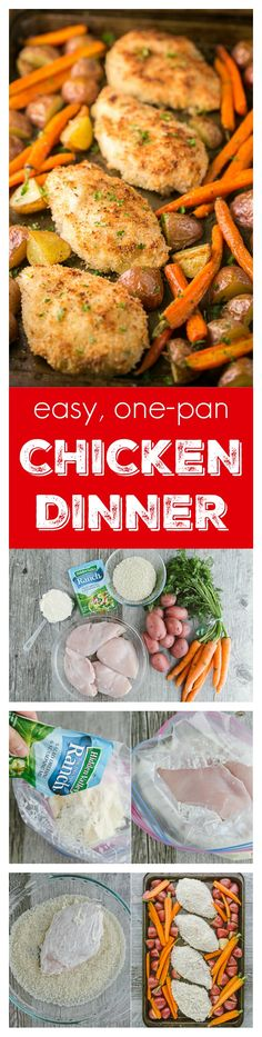 This one-pan chicken dinner is delicious and family-friendly. It's a one pan meal with just 6 ingredients! Such an easy dinner idea. One pan chicken #sponsored by Hidden Valley