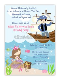 Vertical Mermaid And Pirate Birthday Invitation by CherishedTimes