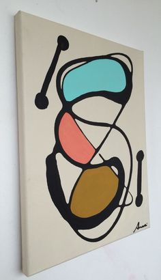 ORIGINAL ART RETRO ABSTRACT  MID CENTURY MODERN  ACRYLIC CANVAS PAINTING ARTIST #Abstract