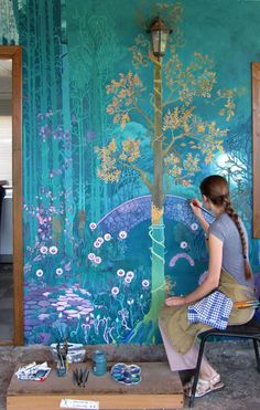Wall murals painted chinoiserie 43 Ideas for 2019 Life In Russia, Art Mural, Painting Murals On Walls, Wall Paintings, Fantasy Landscape, Fantasy Art, Spring Landscape, Fantasy Forest, Chinoiserie
