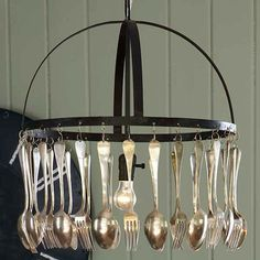 Upcycled cutlery chandelier