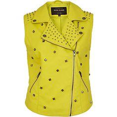 Yellow leather look studded biker gilet $60.00