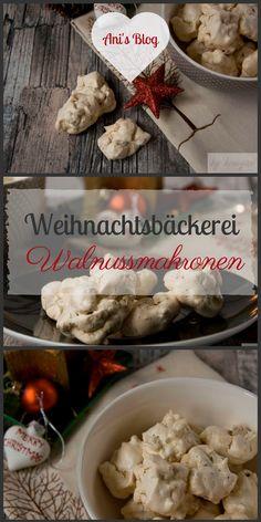 Weihnachtsplätzchen: Die gehören auf den Plätzchen Teller: Walnussmakronen sind super zart und dabei crunchig. Die Idee fürs Backen im Advent. Weihnachtsbäckerei