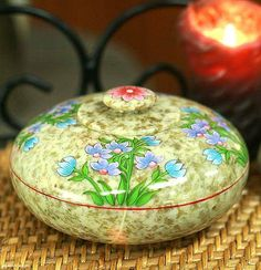 Hand Painted Soapstone Lidded Bowl (Medium) - Bluebells | NOVICA
