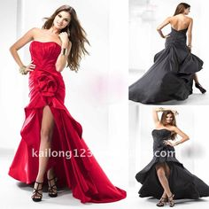 Gorgeous Scoop Neck High-Low Flowing train Ruched Taffeta Red Black Flower Front Slit Prom Dress US $132.00