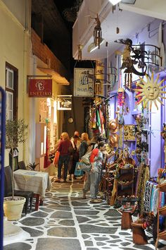 Naxos Island alley shops ~ Greek