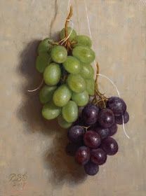 """Debbie's Art Space: """"Suspended Grapes II"""" Oil on inch board Charcoal Sketch, Still Life Oil Painting, Fine Art Gallery, Colored Pencils, Painting & Drawing, Berries, Drawings, Artist, Artwork"""