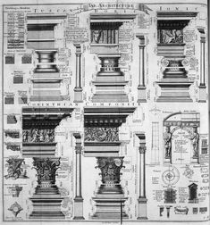 Another beautiful drawing of the 5 classical orders; Tuscan, Doric, Ionic, Cortinthian and Composite order with their specific mouldings. This image is taken from the Cyclopaedia (also know as 'An Univesral Dictionary of Arts and Sciences') volume I published by Ephraim Chambers in 1728 in London.