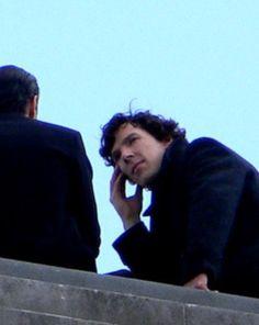 Sherlock and Jim chatter on a roof. Sherlock Bbc, Benedict Sherlock, Sherlock Series, Sherlock Holmes Benedict Cumberbatch, Sherlock Fandom, Jim Moriarty, Sherlock Quotes, Watson Sherlock, Johnlock