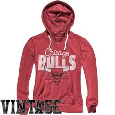 4b3190dc9597e Mitchell   Ness Chicago Bulls Ladies Vintage Pullover Hoodie - Red