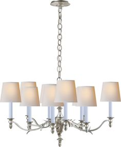 "CHANDLER SMALL CHANDELIER  T O'B  new item preview - call 877.762.2323 for specific availability  Height: 20 1/2""  Width: 36 3/4""  Canopy: 6"" Round  Shade: 4 1/2"" x 6"" x 5 1/2""  Wattage: 10 - 60 Watt Type B  Socket: Candelabra"