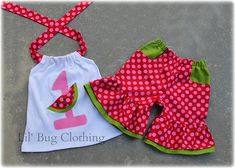 Custom Boutique Clothing Personalized Watermelon Birthday Hot Pink and Red Polka Dot Capri and Halter Top
