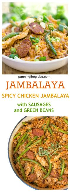 Spicy Chicken Jambalaya with Smoky Sausages and Green Beans: a New Orleans Mardi Gras favorite. A whole delicious dinner in one pot - chicken, sausage, rice and green beans. Perfect for family dinners and casual entertaining.