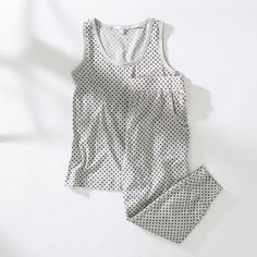 This pyjama tank and pant are made from soft organic cotton jersey with a spot print.