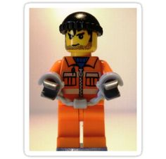 """""""LEGO® City Convict Prisoner Minifig Minifigure with Handcuffs, by 'Customize My Minifig'"""" Stickers by Chillee 