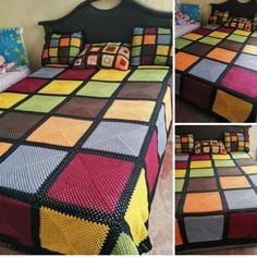 Quilting, Blanket, Bed, Home, Bedroom Ideas, Farmhouse Rugs, Stuff Stuff, Crochet Blankets, Crochet Squares