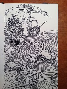 Quick sketch done with sharpie of some angry seas. Wish I'd gone with a smaller pen but oh well, I'll probably pick up the idea in a bigger paper pad sometime. -Melanie J