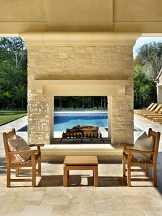 Outdoor Pool Fireplace | Beautiful Homes Design