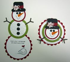 Inking Idaho: Snowman with Instructions.this would be cute idea as a gift card holder Noel Christmas, Handmade Christmas, Christmas Ideas, Snowman Cards, Winter Cards, Scrapbook Cards, Scrapbooking, Folded Cards, Xmas Cards
