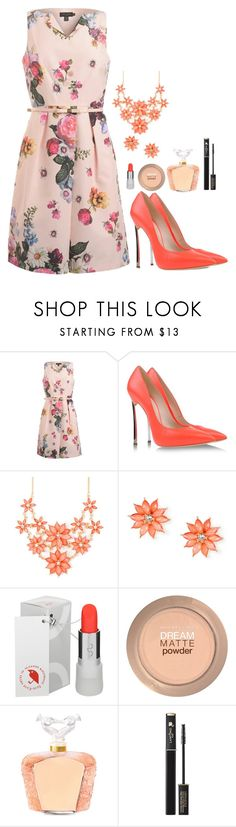 """Без названия #5"" by amphibian3 ❤ liked on Polyvore featuring Ted Baker, Casadei, Uslu Airlines, Maybelline, Lalique and Lancôme"