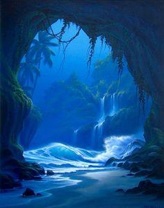 """Looking Out"" SurfArt by Scott Munzig Fantasy Landscape, Landscape Art, Landscape Paintings, Fantasy Kunst, Fantasy Art, Underwater World, Underwater Caves, Fantasy Places, Tropical Art"