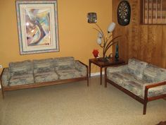 MidCenturyModernMania@gmail.com. Interesting sofa and love seat. But seller doesn't give sizes or price.