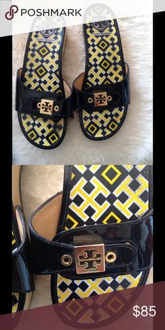 TORY BURCH Wooded Sandals AUTHENTIC. Used a couple of times but great condition. Size sticker is still on. MADE IN BRAZIL. Tory Burch Shoes Sandals