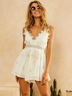Fortunate One |  Moonrise Playsuit White