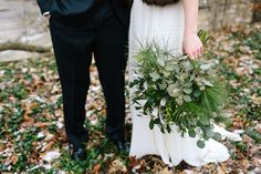 Winter greenery bridal bouquet.  Flowers by Buckeye Blooms.  Photo by Sarah Hissong.