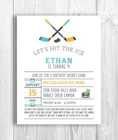 Hockey Party Ticket Invitations Template Red Black Hockey - Free birthday invitation templates hockey