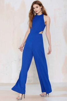 Nasty Gal Jeslina Cutout Jumpsuit - Blue - Rompers + Jumpsuits | Clothes | All | Rompers + Jumpsuits | Clothes