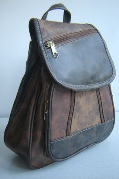 be189a6ba98f 90 s Vintage Faux Leather Vegan Small Backpack Bag on Etsy