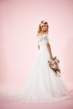 Alexandria Wedding dress with Lace off the shoulder neckline | Charlotte Balbier Willa Rose Bridal Collection | http://www.rockmywedding.co.uk/introducing-charlotte-balbiers-willa-rose-collection/