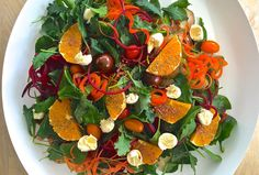 Raw Vegetable Spiral Salad with Navel Oranges
